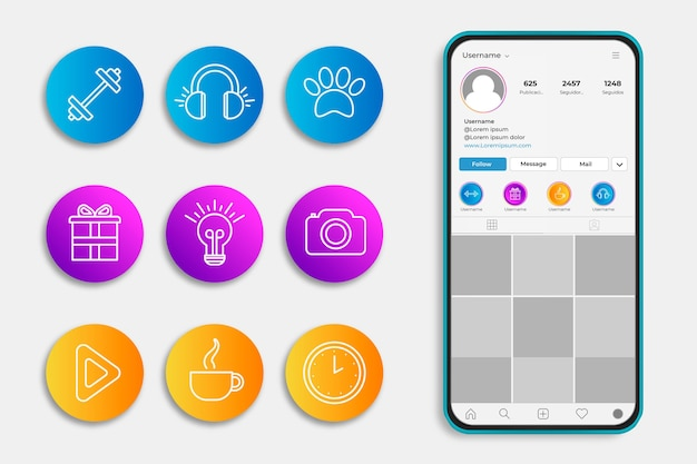 Histoires De Gradient Instagram Vecteur gratuit