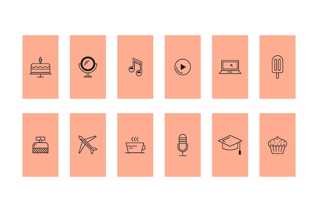 Histoires D'icônes Instagram Vecteur Premium