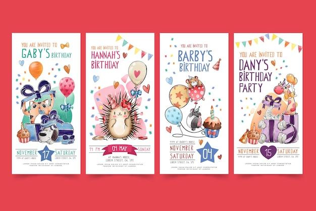 Histoires Instagram D'anniversaire Pour Enfants Vecteur gratuit
