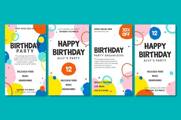 Histoires Instagram D'anniversaire Vecteur gratuit
