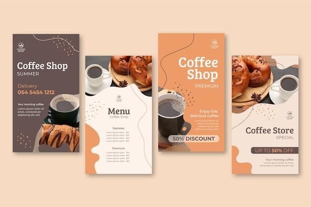 Histoires Instagram De Café Vecteur gratuit