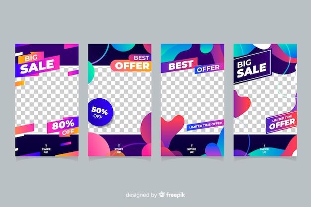 Histoires d'instagram colorés de vente abstraites avec fond transparent Vecteur gratuit