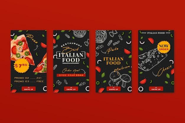 Histoires Instagram De Cuisine Italienne Dessinés à La Main Vecteur gratuit