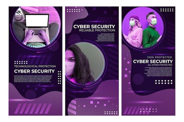 Histoires Instagram Sur La Cybersécurité Vecteur gratuit