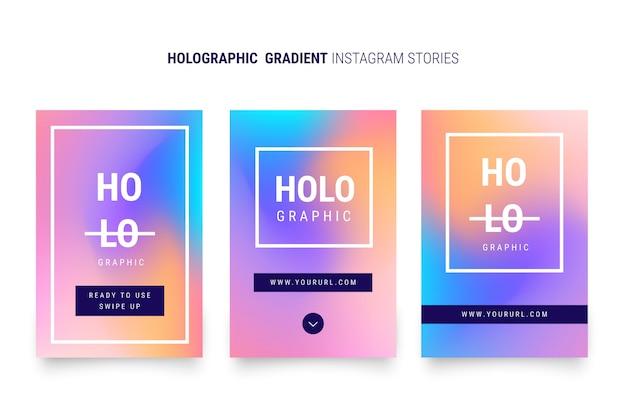 Histoires instagram à dégradé holographique Vecteur gratuit