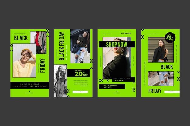 Histoires Instagram De Design Plat Promo Vendredi Noir Vert Vif Vecteur gratuit