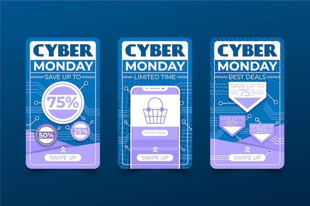 Histoires Instagram Du Cyber Monday Vecteur gratuit