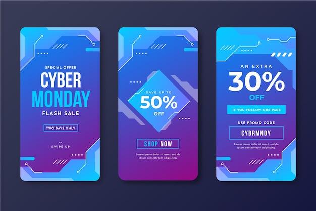 Histoires Instagram Du Cyber Monday Vecteur Premium