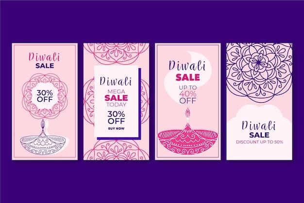 Histoires Instagram Du Festival De Diwali Vecteur gratuit
