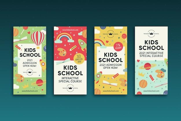 Histoires Instagram D'école Pour Enfants Vecteur gratuit
