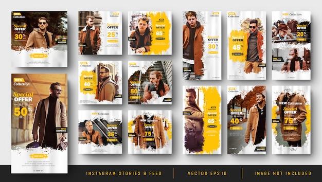 Histoires Instagram Et Gabarit De Kit De Post-bundle De Flux Vecteur Premium