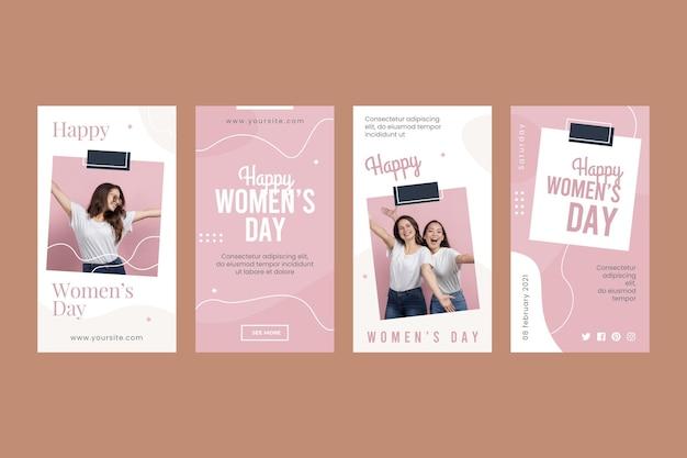 Histoires Instagram De La Journée Internationale De La Femme Vecteur gratuit