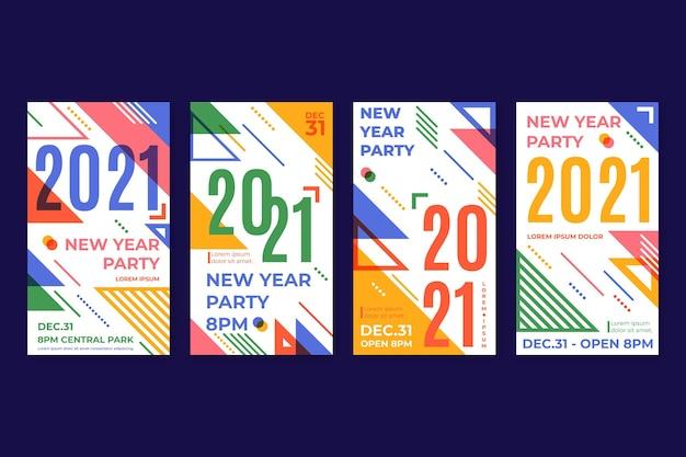 Histoires Instagram Pour La Fête Du Nouvel An 2021 Vecteur Premium