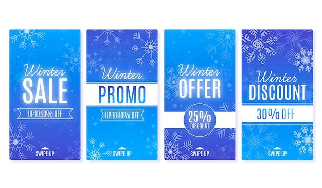 Histoires Instagram De Soldes D'hiver Vecteur gratuit