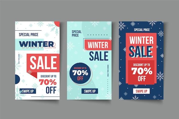 Histoires Instagram De Soldes D'hiver Vecteur Premium