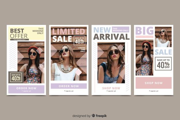 Histoires instagram vente abstraite colorée avec image Vecteur gratuit