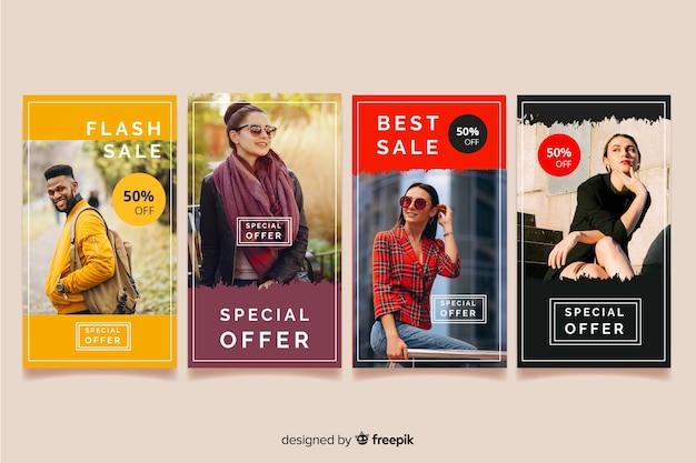 Histoires instagram vente de mode abstraite Vecteur gratuit