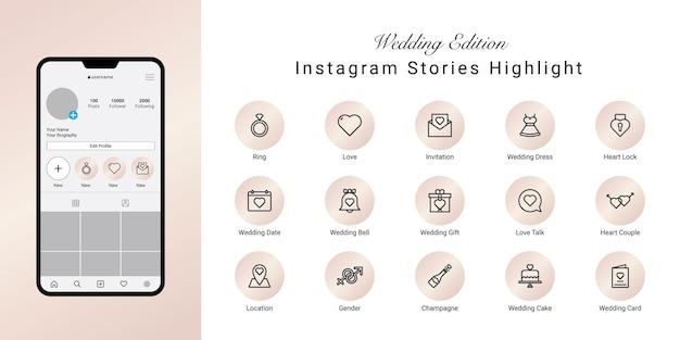 Histoires De Mariage Instagram Mettent En évidence Les Icônes De Couverture Vecteur Premium