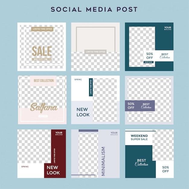 Des histoires de médias sociaux minimalistes alimentent le modèle de vente après la mode Vecteur Premium