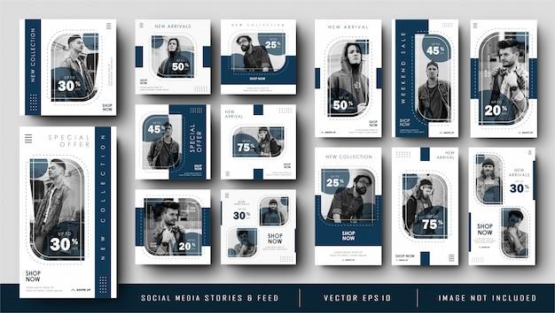 Histoires Minimalistes Bleu Marine Instagram Et Modèle De Bannière De Publication De Flux De Médias Sociaux Vecteur Premium