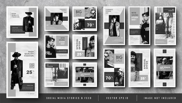 Histoires Minimalistes D'instagram Et Bannière De Publication De Flux De Médias Sociaux En Noir Et Blanc Vecteur Premium