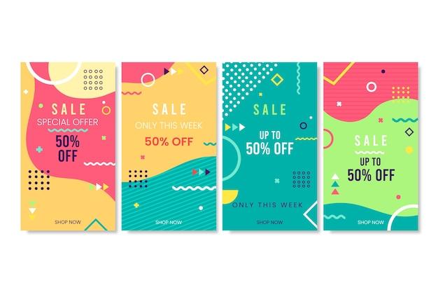 Histoires De Vente Instagram Abstrait Coloré Vecteur gratuit