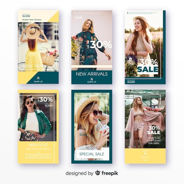 Histoires de vente de mode instagram Vecteur gratuit