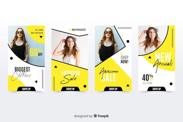 Histoires de vente de mode avec photo instagram Vecteur gratuit