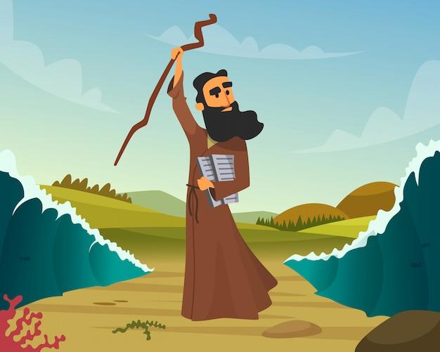 Historique à la main tiré de l'histoire biblique Vecteur Premium