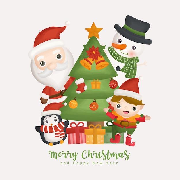 Hiver Aquarelle De Noël Avec élément De Père Noël Et De Noël. Carte De Voeux, Conception De Noël. Vecteur Premium