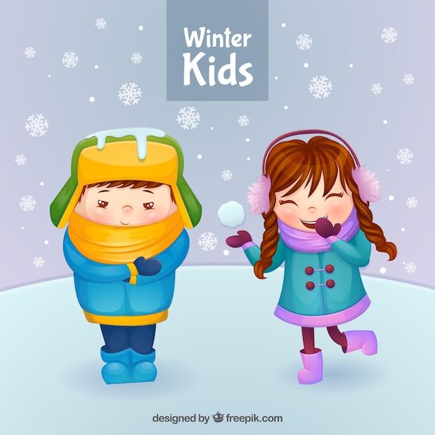Hiver enfants avec scène de neige Vecteur gratuit