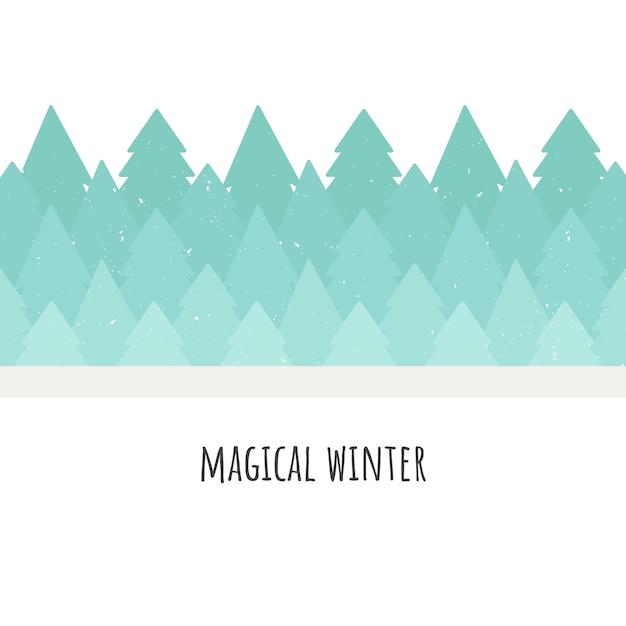 Hiver magique. illustration vectorielle forêt d'arbres. style plat Vecteur Premium