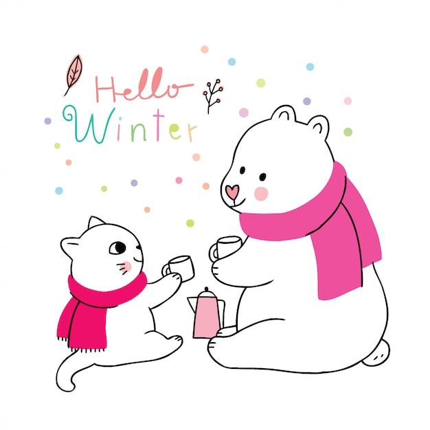 Hiver mignon, chat et ours polaire buvant du café Vecteur Premium