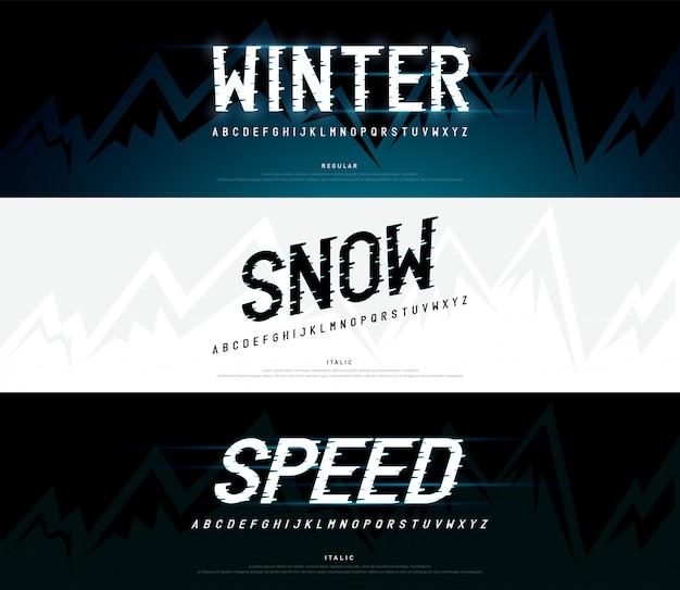Hiver, neige alphabet moderne Vecteur Premium