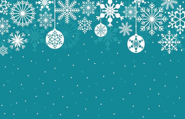 Hiver, neige, flocon de neige, illustration, texture, carte, fond Vecteur Premium