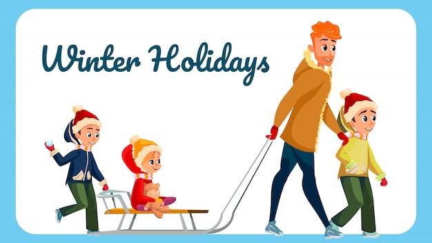 Hiver vacances bannière dessin animé homme enfants en plein air Vecteur Premium