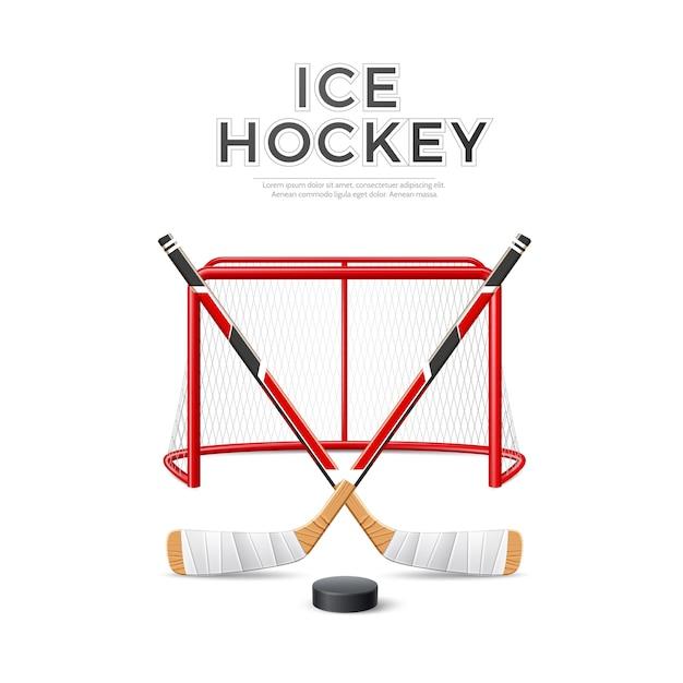 Hockey Sur Glace Emblème Réaliste De Vecteur Croisé Des Bâtons Avec Rondelle Sur But Rouge Avec Filet Vecteur Premium