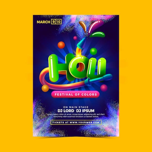 Holi Festival De Couleurs Avec Main Colorée Vecteur gratuit