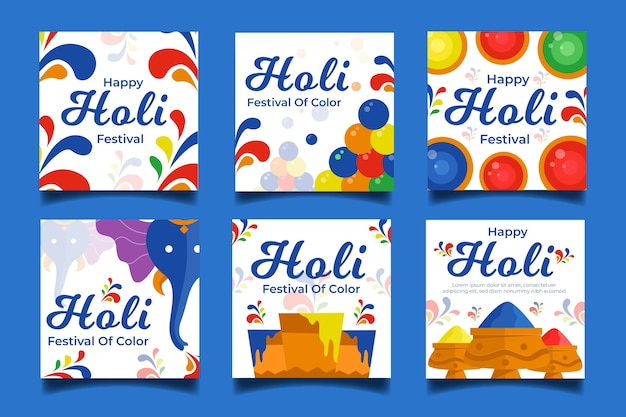 Holi Festival Instagram Histoires Design Artistique Vecteur gratuit