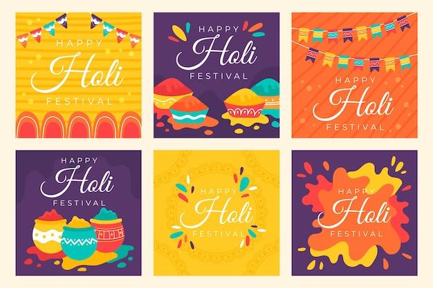 Holi Festival Instagram Post Collection Concept Vecteur gratuit
