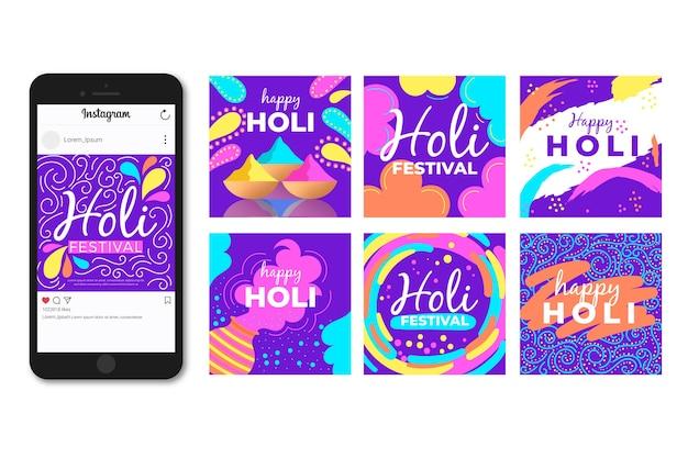 Holi Festival Instagram Post Concept Vecteur gratuit