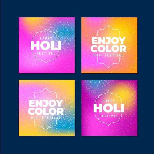 Holi Festival Instagram Post Pack Vecteur gratuit