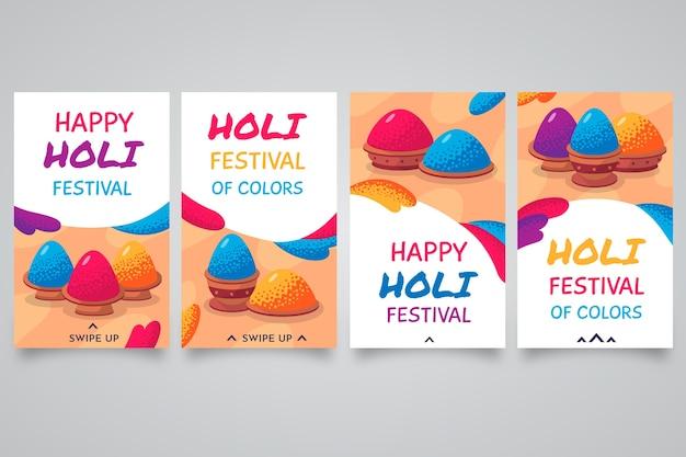 Holi Festival Instagram Post Set Vecteur gratuit