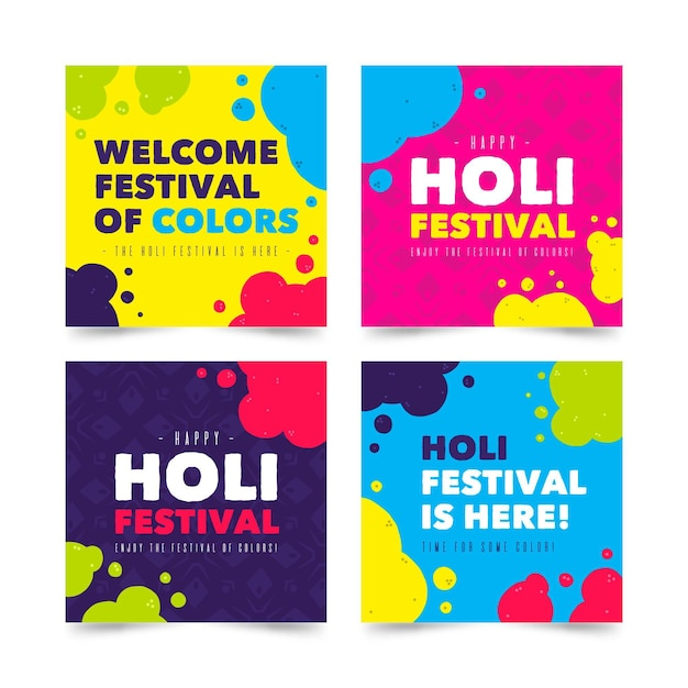 Holi Festival Instagram Posts Vecteur gratuit