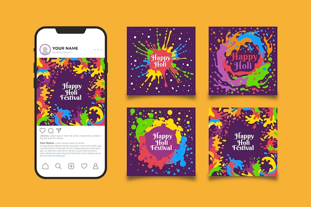 Holi Festival Post Collection Pour Instagram Vecteur gratuit