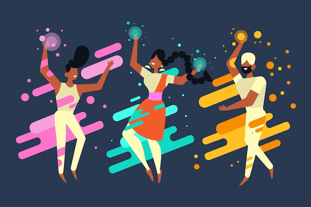 Holi Holiday People Fête Et Danse Vecteur gratuit