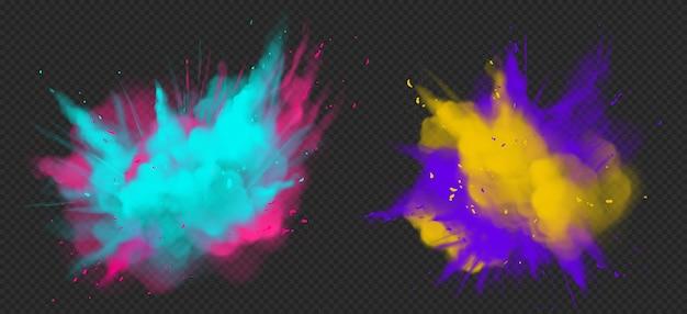 Holi Peinture Explosion De Couleurs En Poudre Réaliste Vecteur gratuit