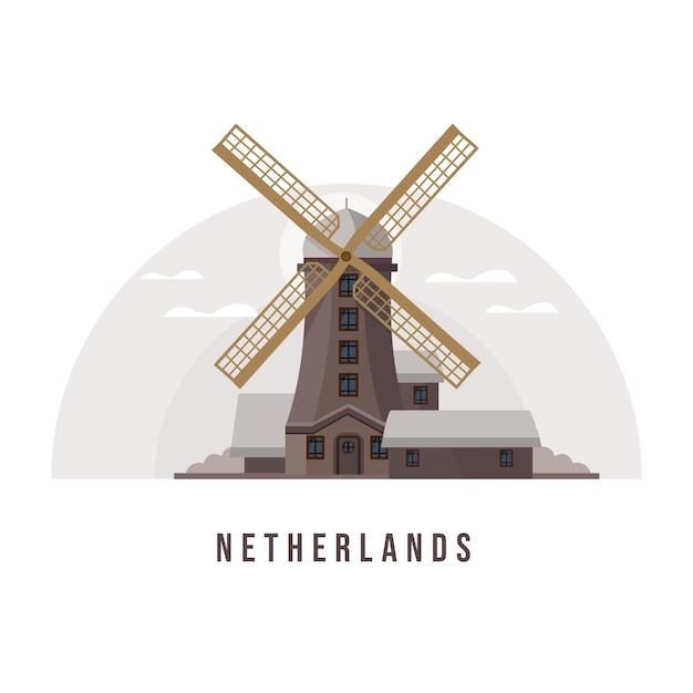 Hollande Et Amsterdam City Landmark Vecteur Premium