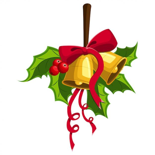 Holly berry avec deux cloches d'or, arc rouge. élément de décoration de noël pour les vacances. Vecteur Premium