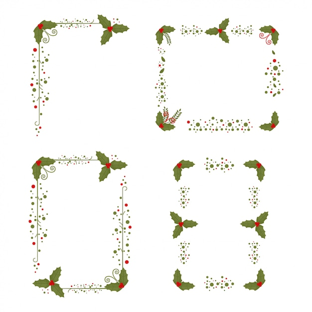 Holly Berry Frame Christmas Decorated Elements Isolé Sur Un Blanc. Vecteur Premium